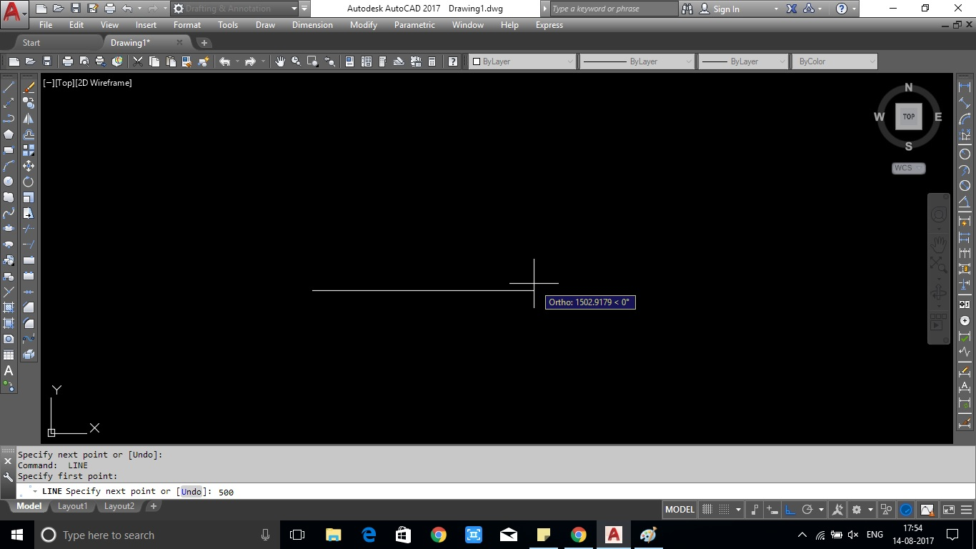 Drawing Lines With Angles In Autocad : How to draw line command in autocad showing with image